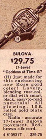 "1942 Bulova Goddess of Time ""B"""