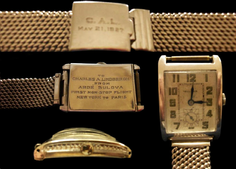 The 1927 Bulova watch presented to Charles Lindbergh