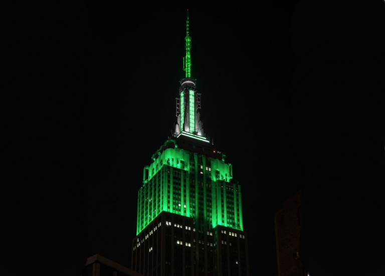The Empire State building light-up in Accutron Green
