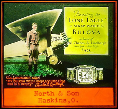 1927 theatre slide with Charles Lindbergh and the Bulova Lone Eagle watch