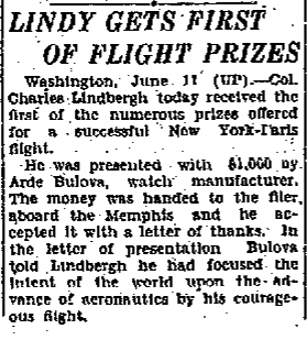 Lindy gets first of flight prizes