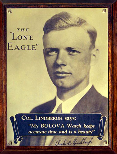 Vintage Bulova Advertiment featuring Charles Lindbergh