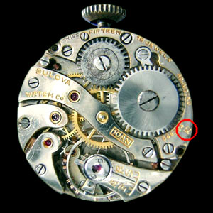 Swiss made Bulova 10AN movement showing Omega symbol indicating 1930