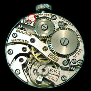 USA made Bulova 10AN movement showing Circle symbol indicating 1934
