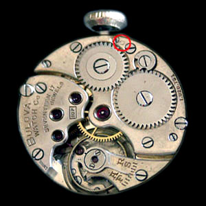 Swiss made Bulova 10P movement showing Circle symbol indicating 1925