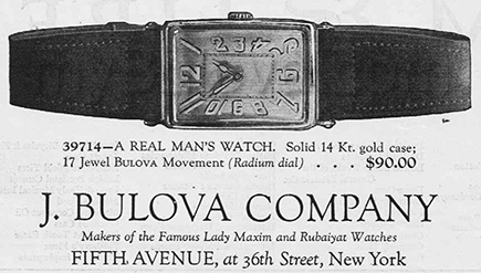 39714 A Real Mans's Watch by Bulova. December 16 1922.