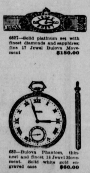 1922 Bulova Phantom pocket watch