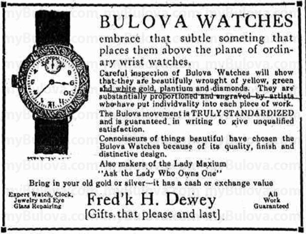 1922 Bulova newspaper advert