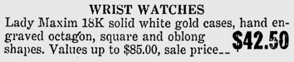1922 Bulova Lady Maxim advert
