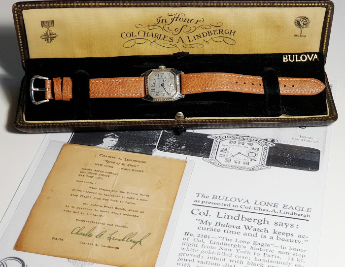 1927 Bulova Lone Eagle and presentation box and letter