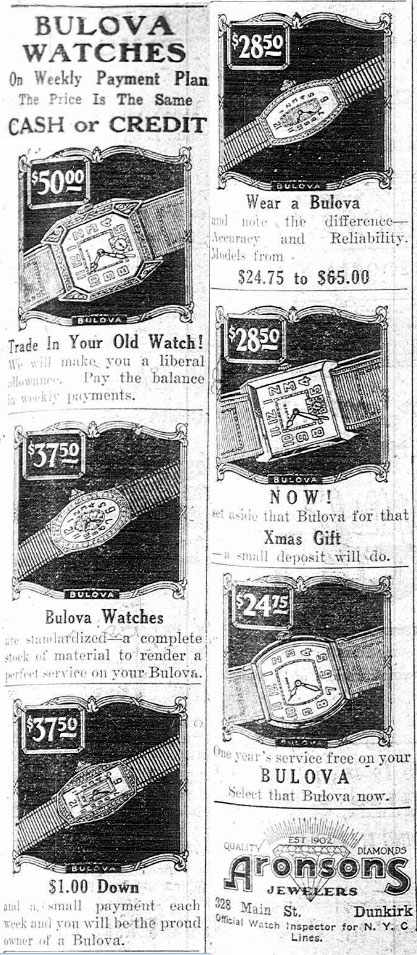 1927 Bulova newspaper watch advert