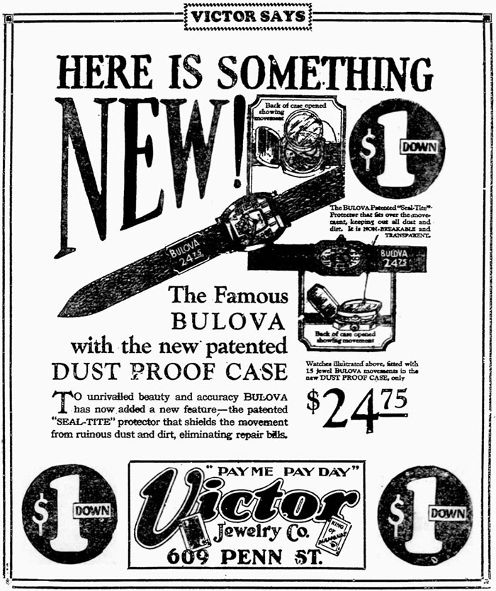 1927 Bulova 'Seal Tite' advert
