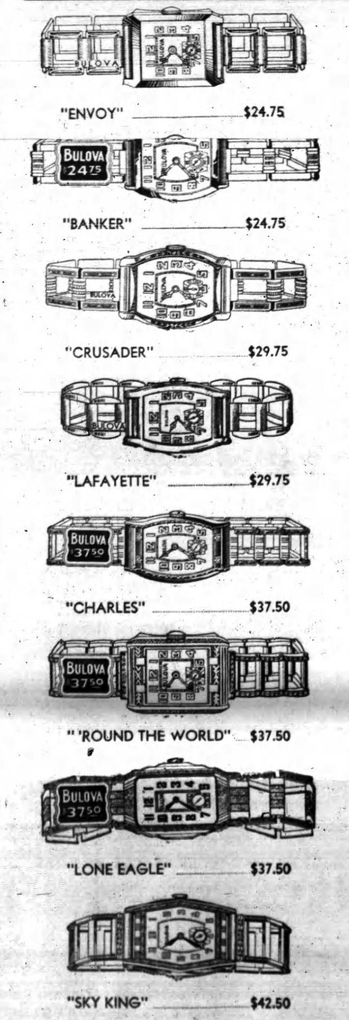 1931 Bulova watches, Envoy, Banker, Crusader, Lafayette, Charles, Round the World, Lone Eagle, Sky King