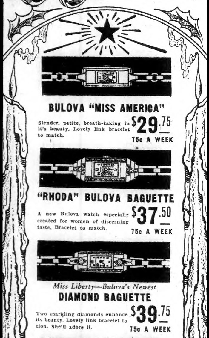 1932 Bulova advertisment. Miss America, Rhoda, Miss Liberty
