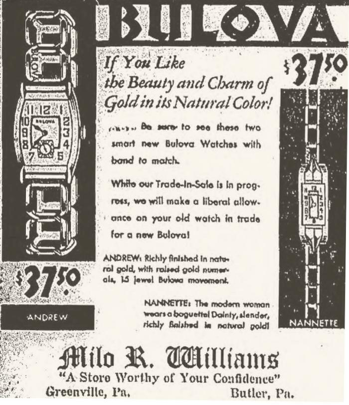 1932 Bulova Andrew and Nannette watch advert