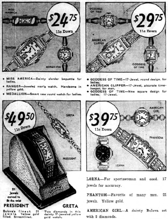 1936 Bulova watches