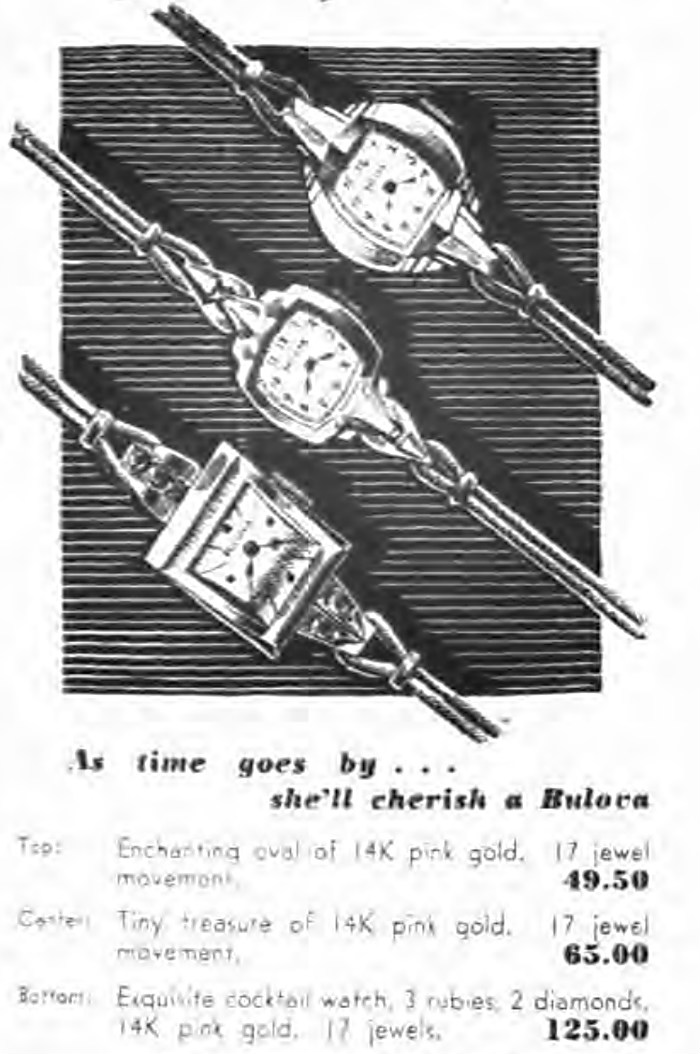 1943 Bulova adverts showing ladies cocktail watch with 3 rubies and 2 diamonds