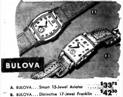 1945 Bulova Aviator and Franklin watches