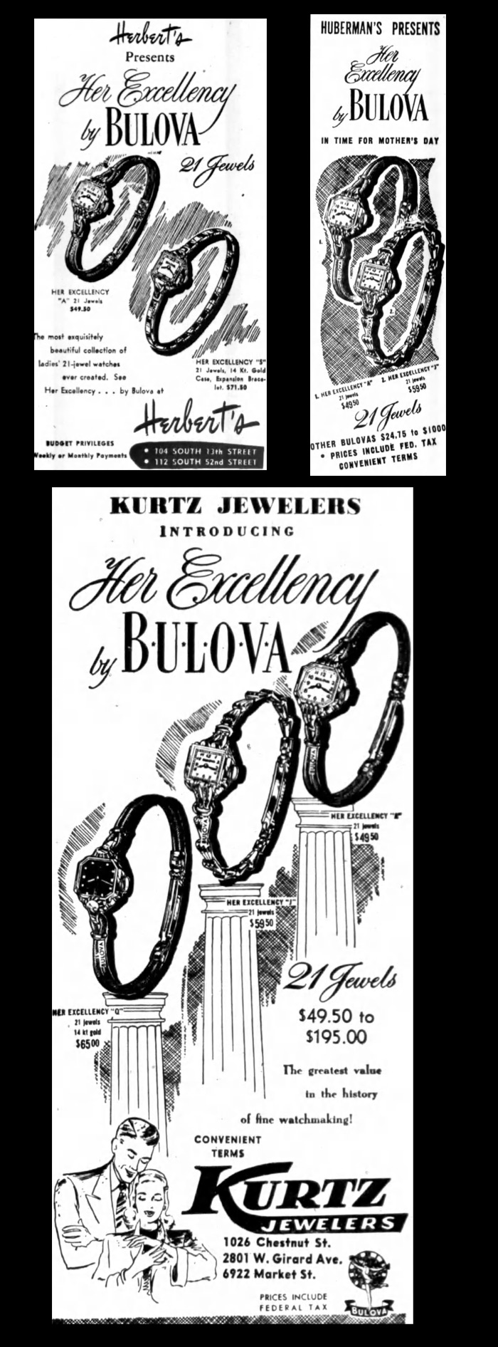 Bulova May 7 1947 Her Excellency watches