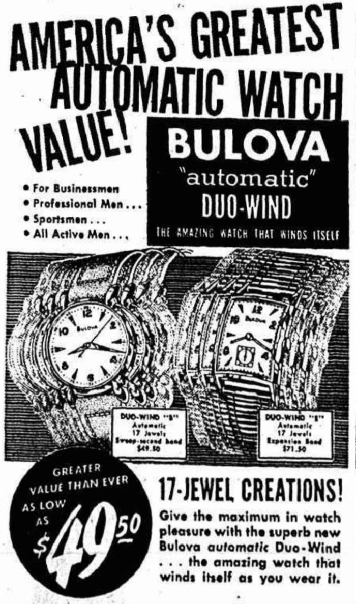 1950 Bulova Duo-Wind watch