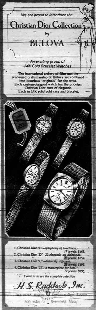 1969 Bulova Christian Dior Watch Collection