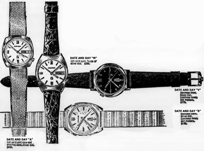 1970 Bulova Accutrons Date and Day watches