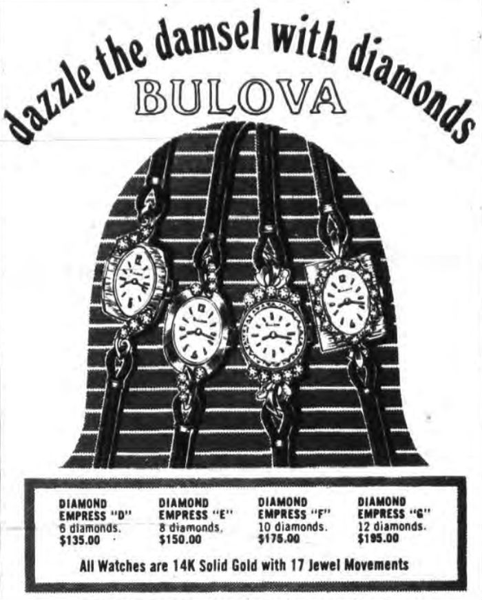 1970 Bulova Diamond Empress watches