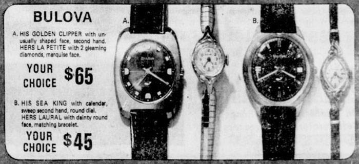 1970 Bulova watch advert