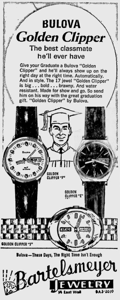 1970 Bulova Golden Clipper newspaper advert