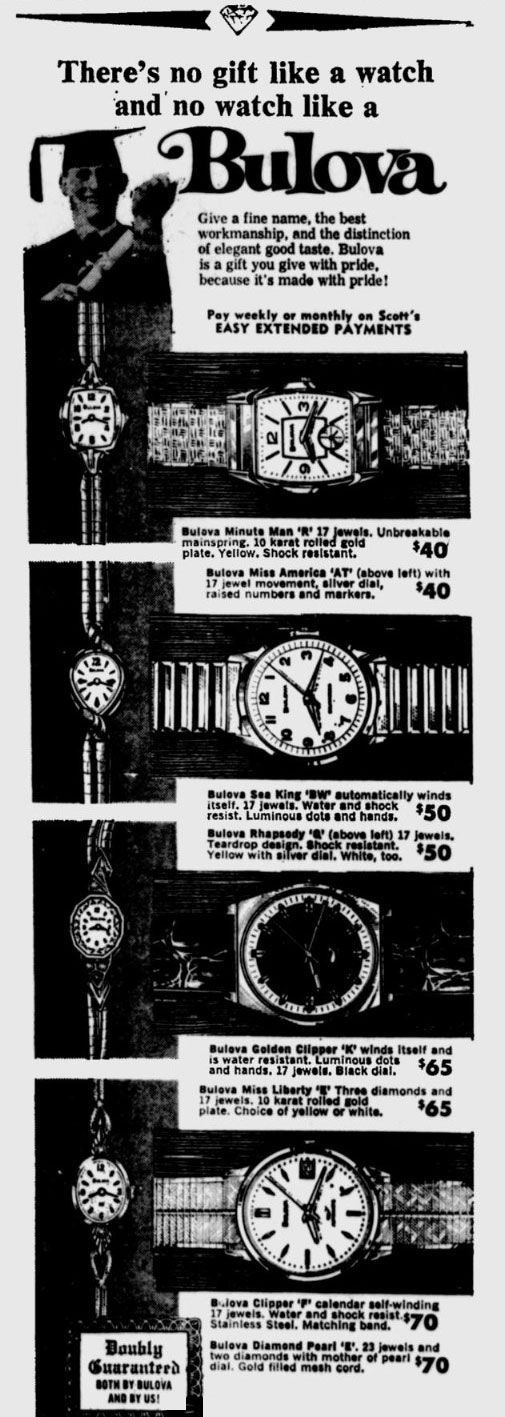 1970 Bulova watch newspaper advert