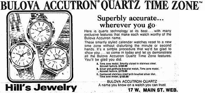 Bulova Accutron Quartz Time Zone watch advert