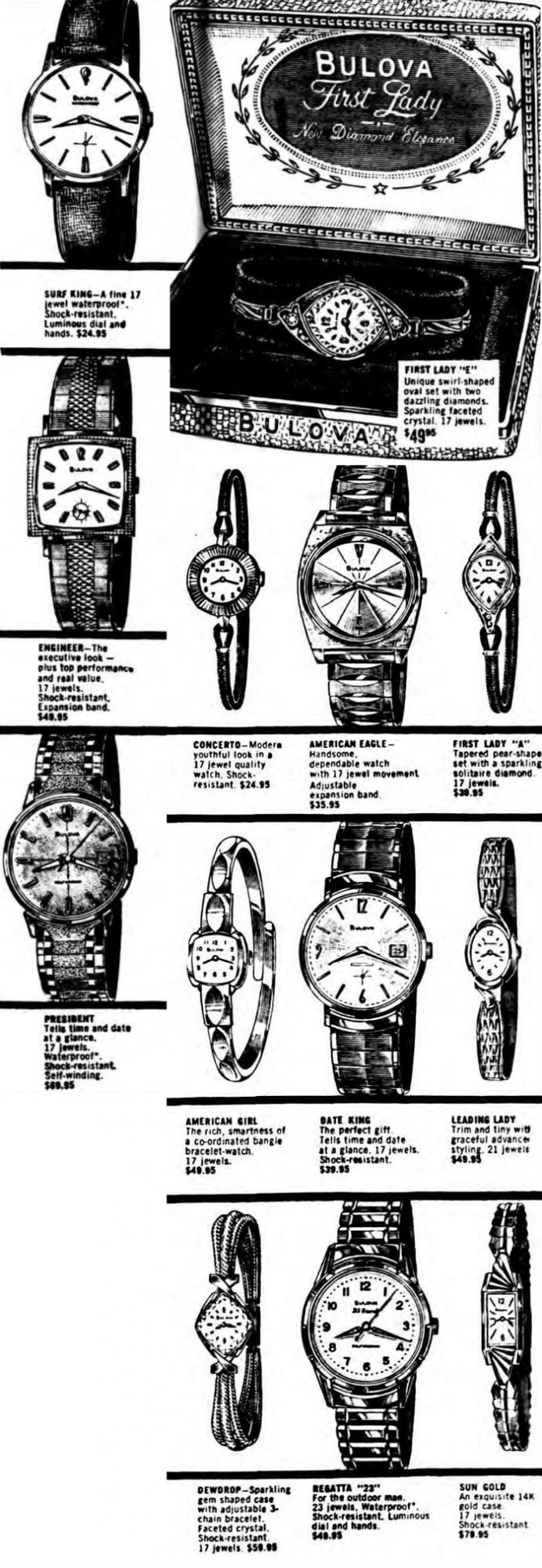1964 Bulova watch advert, Surf King, Engineer, President, First Lady, Concerto, American Eagle,  Leading Lady, Date King, American Girl, Drewdrop, Regatta 23, Sun Gold