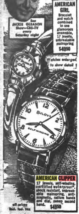 1956 Bulova watch advert - American Clipper