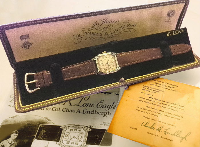 1927 Original 5000 Edition Bulova Lone Eagle with Box and letter from Col Charles Lindbergh