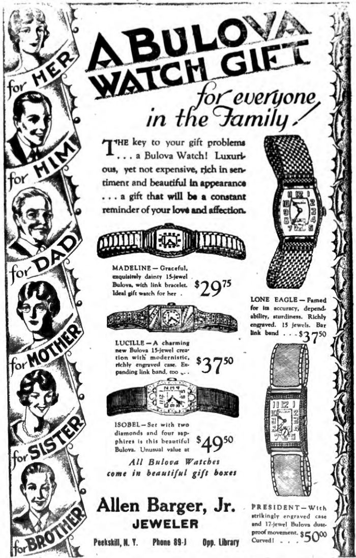 1929 Bulova watch advert Lone Eagle, President, Madeline, Lucille, Isobel