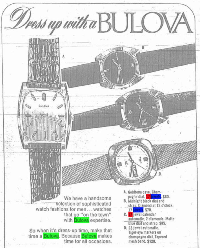 Bulova Diamond Watch 1974
