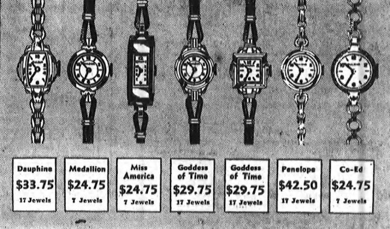 1937 Bulova Dauphine watch