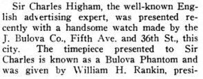 Sir Charles Higham presented witha Bulova Phantom.