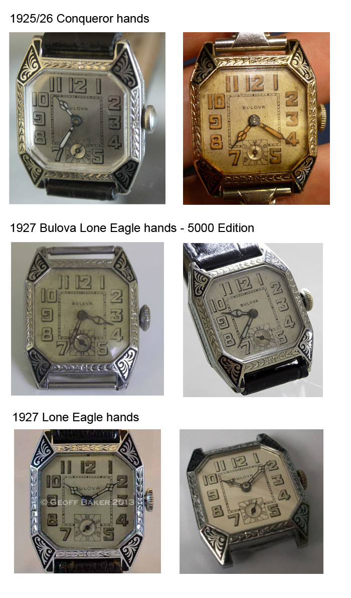 Bulova Conqueror / Lone Eagle watch hands and dial