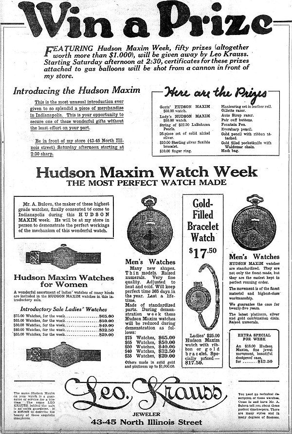 1921 Hudson Maxim watch by Bulova advert