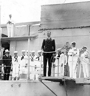 Charles Lindbergh with Richard Blythe aboard the US Memphis, June 11, 1927