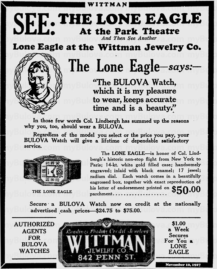 Bulove Lone Eagle advert from the Reading Eagle November 10 1927