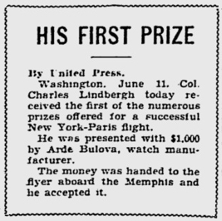 Charles Lindbergh first prize money of $1000 from Bulova