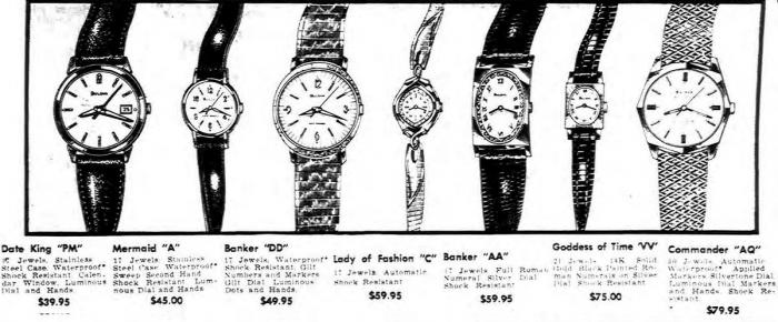 1968 Bulova watch advert, Date King, Mermaid, Banker, Lady of fashion, Goddess of time, Commander