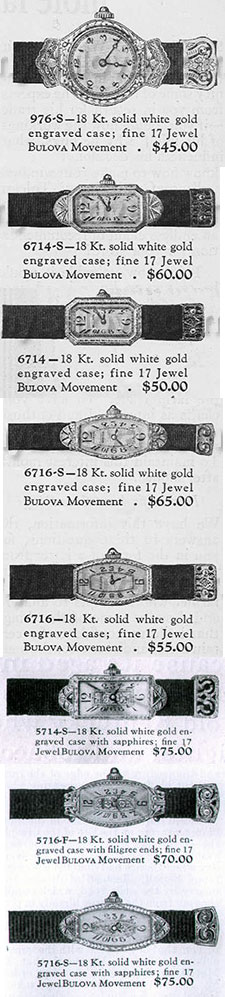 Early Bulova 'S' Band type watches of the 1920s
