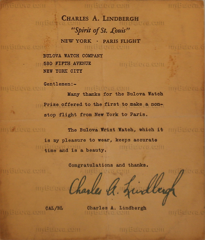 1927 Bulova Lone Eagle Letter from Charles A Lindbergh to Bulova
