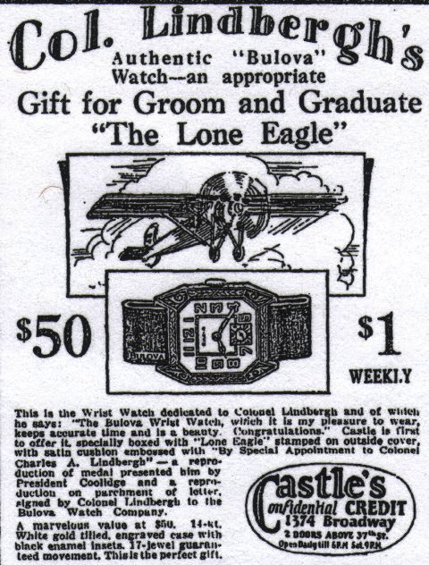 The first Bulova Lone Eagle Advert - June 17, 1927