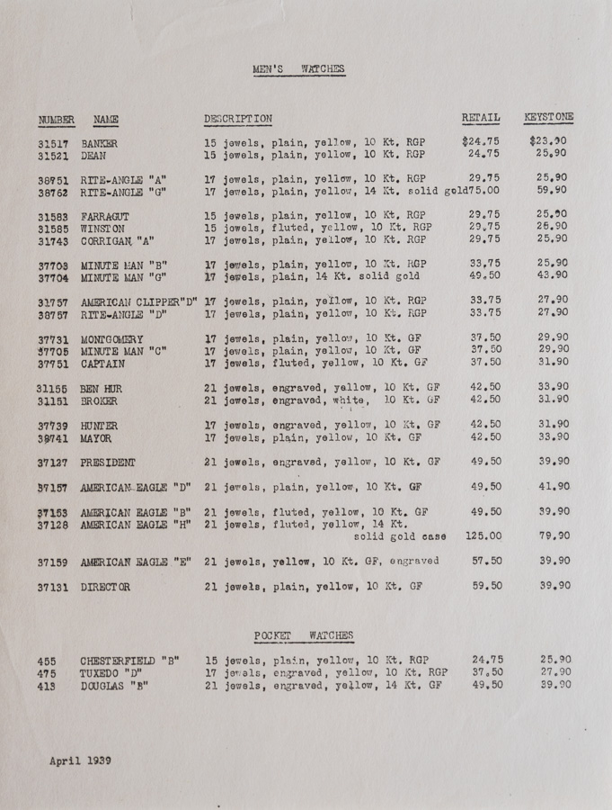 1939 Price list Page 1