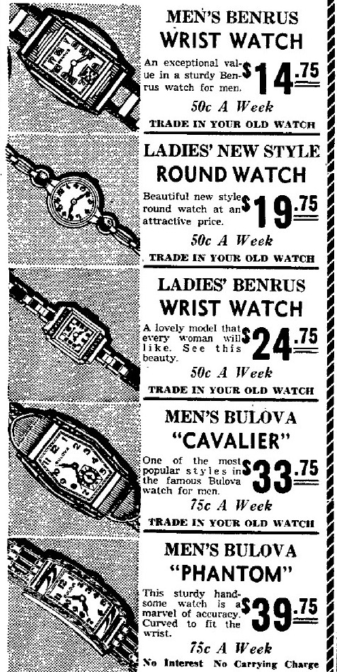 1938 Bulova watch advert