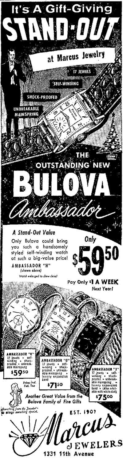 1957 Bulova Ambassador watch advert